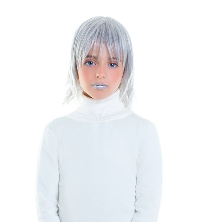 robot girl: beautiful futuristic kid girl futuristic child with gray hair Stock Photo