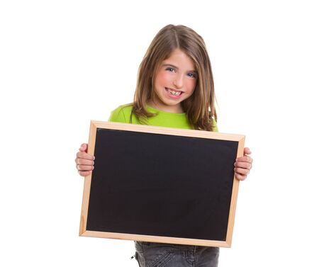 child holding sign: child smiling girl with blank frame copy space black blackboard happy