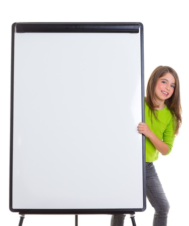 flip chart: child kid happy girl with blank flip chart white copy space smiling