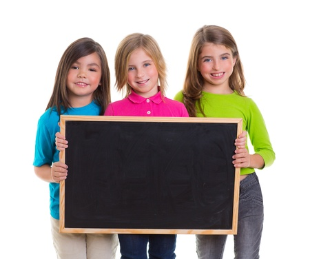 children group kid girls holding blank blackboard copy space on white background photo