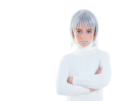 beautiful futuristic kid girl futuristic child with gray hair crossed arms in white photo