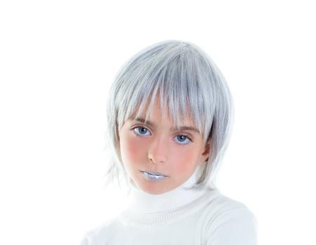 beautiful futuristic kid girl futuristic child with gray hair photo