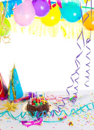 birthday candle: Children birthday party with chocolate cake confetti garland serpentine and balloons