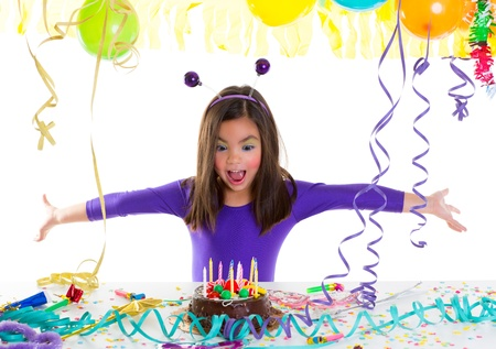 little girl surprised: asian child kid girl in birthday party happy gesture and chocolate cake Stock Photo