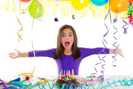 asian child kid girl in birthday party happy gesture and chocolate cake photo