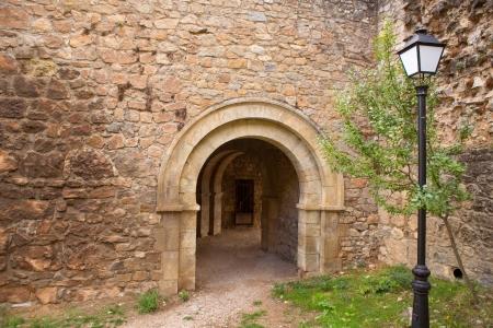 castilla la mancha: Canete Cuenca puerta de San Bartolome in stone masonry fort Spain Castilla La Mancha