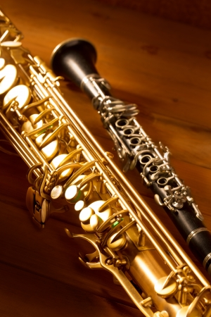 tenor: Classic music Sax tenor saxophone and clarinet in vintage wood background