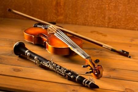 stringed: Classic music violin and clarinet in vintage wood background