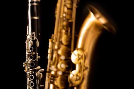 Classic music Sax tenor saxophone and clarinet in black background Stock Photo - 17606715