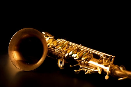 Tenor sax golden saxophone macro with selective focus on black Stock Photo - 17606639