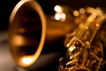 Tenor sax golden saxophone macro with selective focus on black Stock fotó