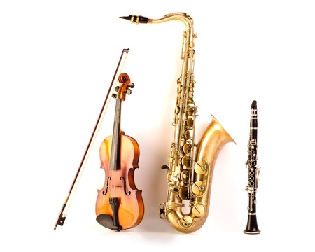 the tenor: Music Sax tenor saxophone violin and clarinet in white background