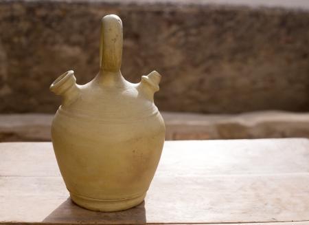 recipient: Botijo traditional clay pot jug to keep fresh water in Spain vintage