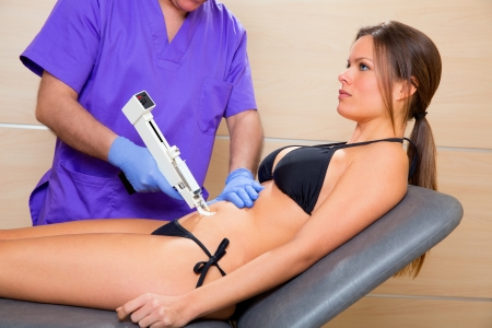 latex girl: abdominal mesotherapy gun therapy doctor to beautiful woman