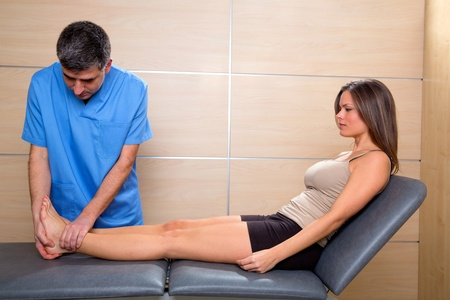 foot doctor: Ankle and Foot examination doctor to woman patient in hospital