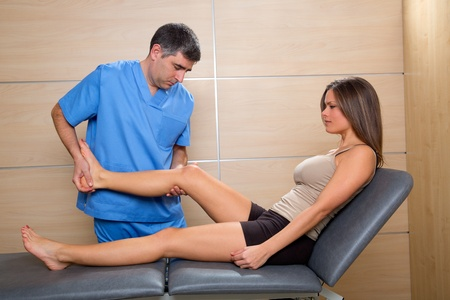 joint mobilization: examination and mobilization of knee joint doctor and woman patient