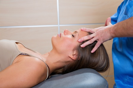 facial massage relaxing theraphy on woman face with therapist hands Stock Photo - 19636995