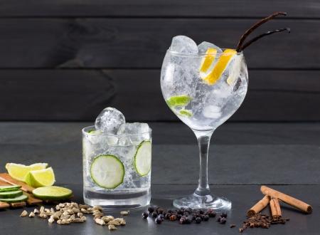 enebro: Gin tonic con lima c?ctel pepino vainilla canela y cardamomo, clavo de olor bayas de enebro Foto de archivo