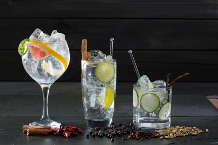 bebidas alcohÓlicas: Gin tonic variados c?cteles con lima y pomelo pepino y especias Foto de archivo
