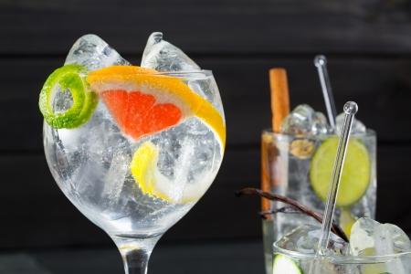 ジントニック変化リマ レモンやグレープ フルーツ バニラとシナモンのスパイスとカクテル 写真素材