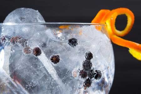 juniper: Gin tonic cocktail macro closeup with juniper berries orange
