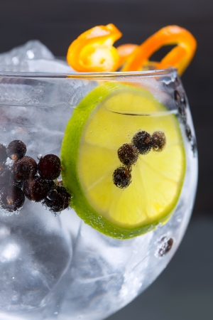 a juniper: Gin tonic coctel macro portarretrato con bayas de enebro naranja y una rodaja de lim�n