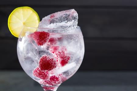 tonic: Gin tonic cocktail with raspberry lima slice and ice macro closeup on black