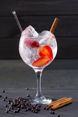 Gin tonic cocktail with strawberries raspberry cinnamon and juniper berries on black photo
