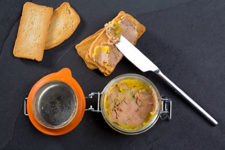 foie gras: Canard Foie gras Pate made of the liver of a duck or goose with toasted bread slices