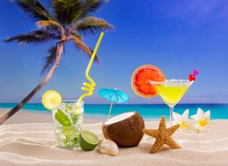 riviera maya: Caribbean tropical sand beach cocktails mojito margarita Stock Photo