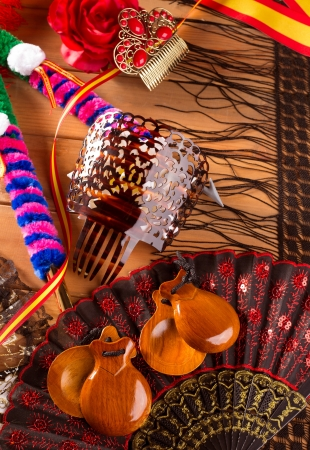 Espana typical from Spain with castanets rose fan bullfighter and flamenco comb photo