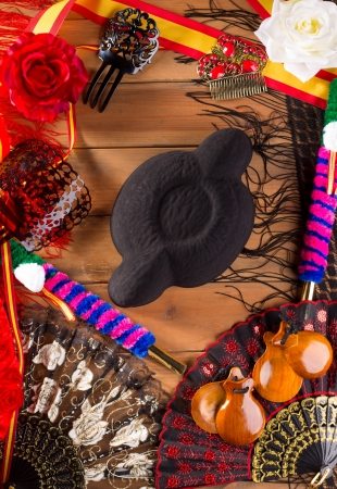 spanish dancer: Bullfighter and flamenco typical from Espana Spain torero hat castanets comb flag and rose
