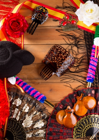 torero: Bullfighter and flamenco typical from Espana Spain torero hat castanets comb flag and rose