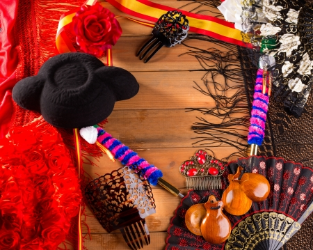espana: Bullfighter and flamenco typical from Espana Spain torero hat castanets comb flag and rose