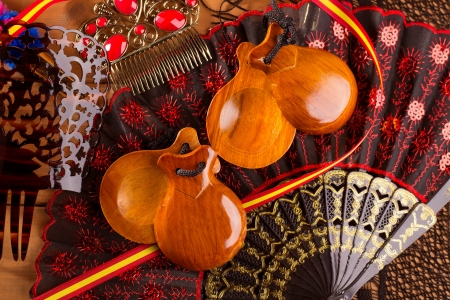 espana: Espana typical from Spain with castanets rose fan bullfighter and flamenco comb