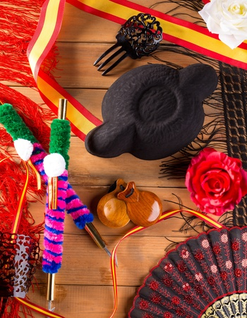 andalusian: Bullfighter and flamenco typical from Espana Spain torero hat castanets comb flag and rose