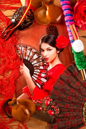 bullfighter: Flamenco woman with bullfighter and typical Spain Espana elements like castanets fan and comb