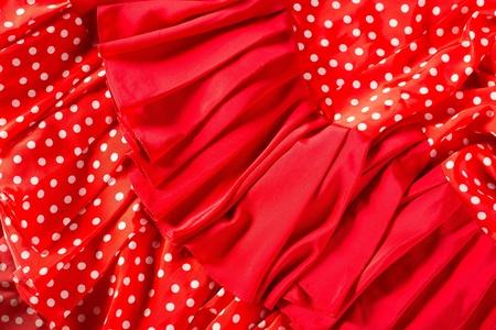 bailarina de flamenco: Flamenco bailarín vestido rojo con manchas macro detalle típico de España Foto de archivo