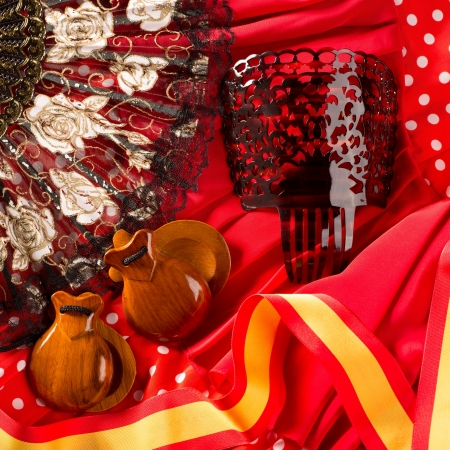 espana: castanets fan and flamenco comb typical from Spain Espana ements