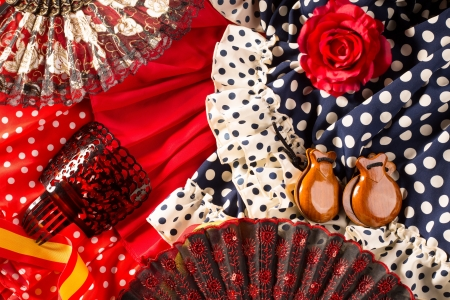 espana: Espana typical from Spain with castanets rose fan and flamenco comb and dress
