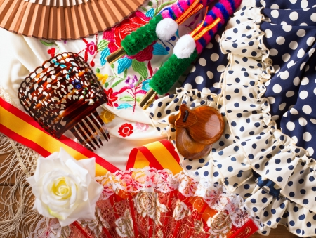 espana: Espana typical from Spain with castanets rose fan comb bullfighter and flamenco dress Stock Photo