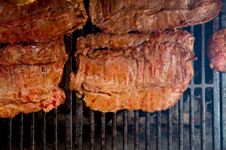 embers: Beef meat barbecue grilled with embers and smoke american style