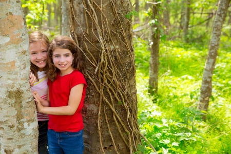 children sister friends playing in tree trunks at the jungle park forest outdoor photo