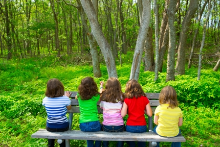 Children sister and friend girls sitting on park bench looking at forest rear view