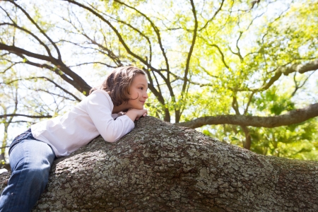Beautiful children kid girl resting lying on a tree branch photo