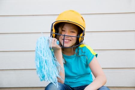 pom poms: baseball cheerleading pom poms girl happy smiling with yellow helmet