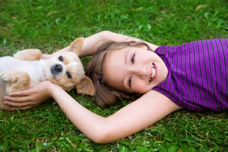 children girl playing with chihuahua dog lying on backyard lawn photo