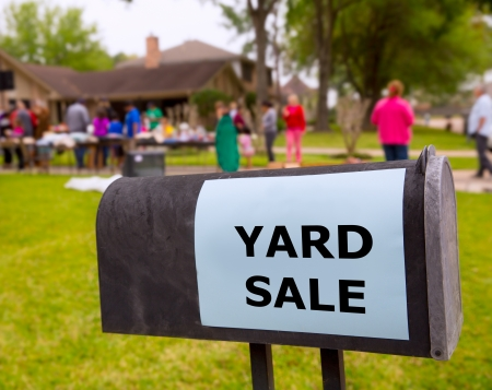 Yard sale in an american weekend on the green lawn
