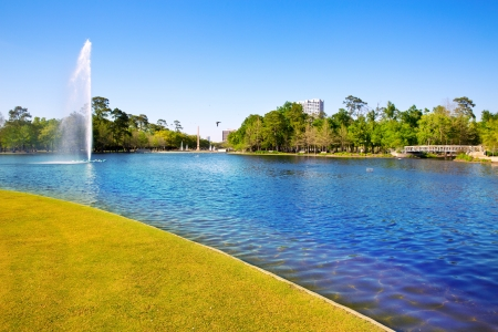 viewer: Houston Mc govern lake with spring water and green grass in Texas