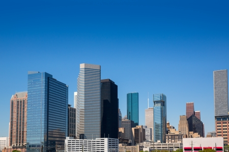 Houston Texas downtown skyscrappers skyline on blue sky day Stock Photo